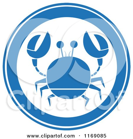Cartoon of a Blue Crab Circle - Royalty Free Vector Clipart by Hit Toon
