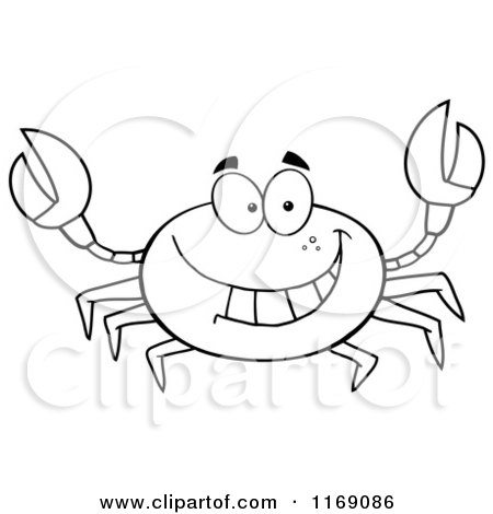 Cartoon of a Happy Black and White Crab Royalty Free