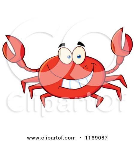 Cartoon of a Happy Red Crab - Royalty Free Vector Clipart by Hit Toon