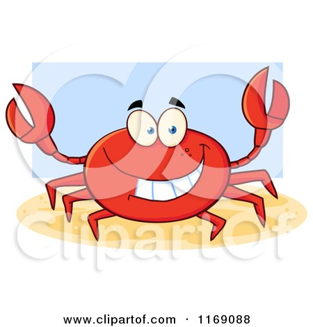 Cartoon of a Happy Red Crab over Blue - Royalty Free Vector Clipart by Hit Toon