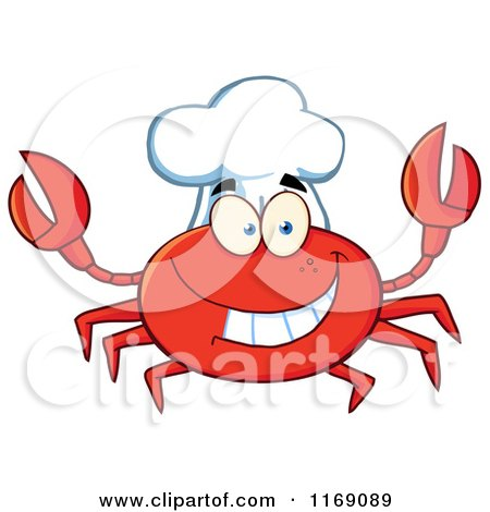Cartoon of a Happy Chef Crab - Royalty Free Vector Clipart by Hit Toon