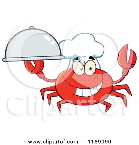 Cartoon of a Happy Chef Crab Holding a Platter Cloche - Royalty Free Vector Clipart by Hit Toon