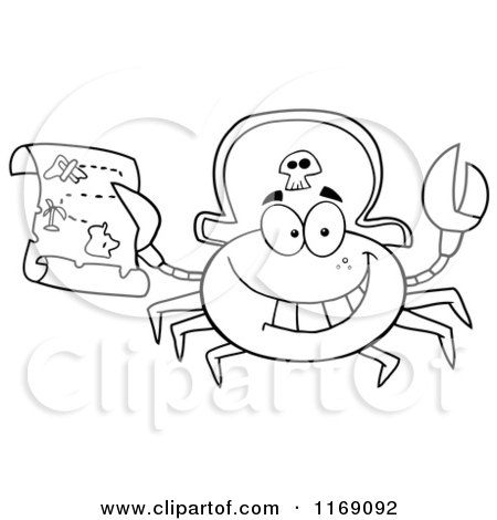Cartoon of a Happy Black and White Pirate Crab Holding a Treasure Map - Royalty Free Vector Clipart by Hit Toon