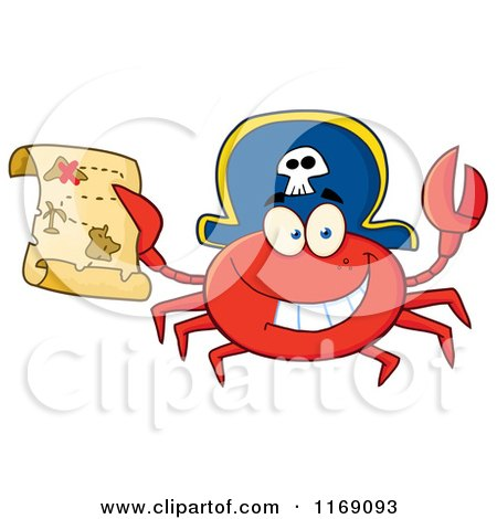 Cartoon of a Happy Pirate Crab Holding a Treasure Map - Royalty Free Vector Clipart by Hit Toon
