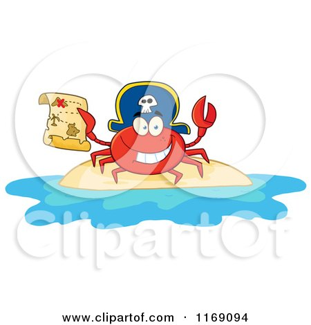 Cartoon of a Happy Pirate Crab Holding a Treasure Map on an Island - Royalty Free Vector Clipart by Hit Toon