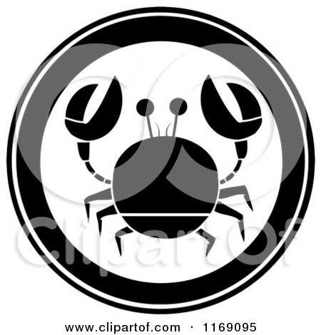 Cartoon of a Black and White Crab Circle - Royalty Free Vector Clipart by Hit Toon