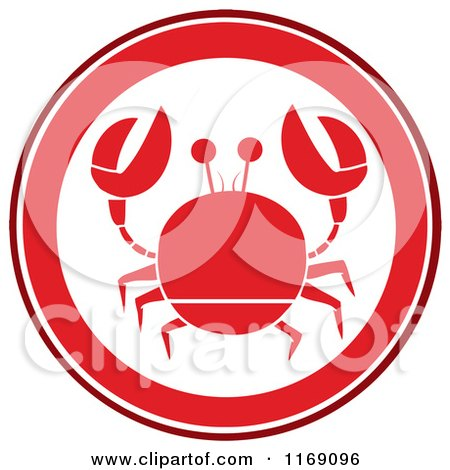 Cartoon of a Red Crab Circle - Royalty Free Vector Clipart by Hit Toon