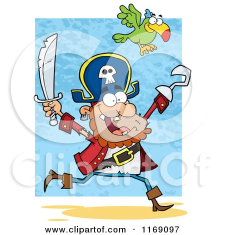 Cartoon of a Parrot Flying over a Happy Pirate Running with a Sword and Hook Hand in the Air - Royalty Free Vector Clipart by Hit Toon
