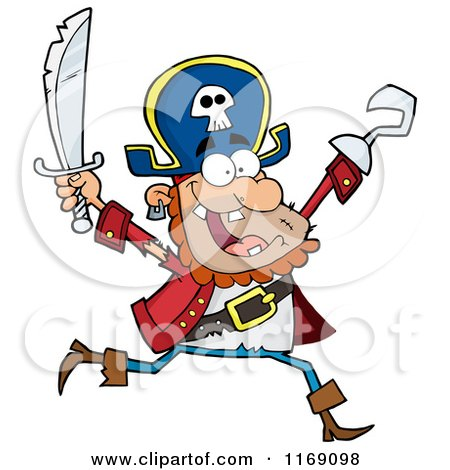 Cartoon of a Happy Pirate Running with a Sword and Hook Hand in the Air - Royalty Free Vector Clipart by Hit Toon