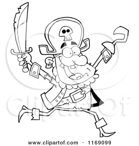 Cartoon of a Happy Black and White Pirate Running with a Sword and Hook Hand in the Air - Royalty Free Vector Clipart by Hit Toon