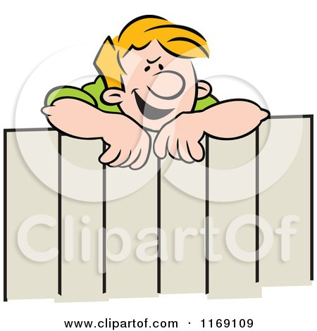 Cartoon of a Gossiping Neighbor Man Talking over a Fence - Royalty Free Vector Clipart by Johnny Sajem