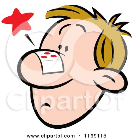 Cartoon of a Nosy Man with a Bandage on His Face - Royalty Free Vector Clipart by Johnny Sajem