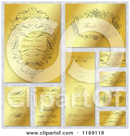 Clipart of Golden Wedding Design Elements and Invites with Sample Text on a Floral Pattern - Royalty Free Vector Illustration by BestVector