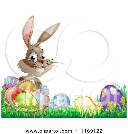 Cartoon of a Grinning Easter Bunny with Eggs and a Basket in Grass - Royalty Free Vector Clipart by AtStockIllustration