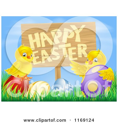 Cartoon of a Happy Easter Sign with Chicks and Easter Eggs Against Blue Sky - Royalty Free Vector Clipart by AtStockIllustration