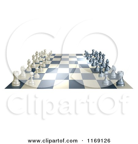Clipart of a Chess Board at the Opening of a Game - Royalty Free Vector Illustration by AtStockIllustration