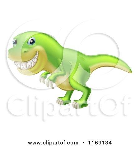Cartoon of a Green Tyrannosaurus Rex Dinosaur Grinning - Royalty Free Vector Clipart by AtStockIllustration