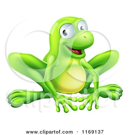 Cartoon of a Smiling Green Frog - Royalty Free Vector Clipart by AtStockIllustration