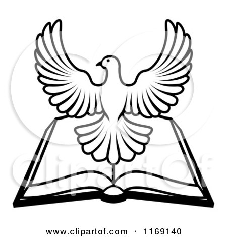 Clipart of a Black and White Holy Spirit Dove over an Open Bible - Royalty Free Vector Illustration by AtStockIllustration