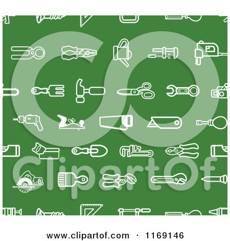 Clipart of a Seamless Green Hardware and Tool Icon Pattern - Royalty Free Vector Illustration by AtStockIllustration
