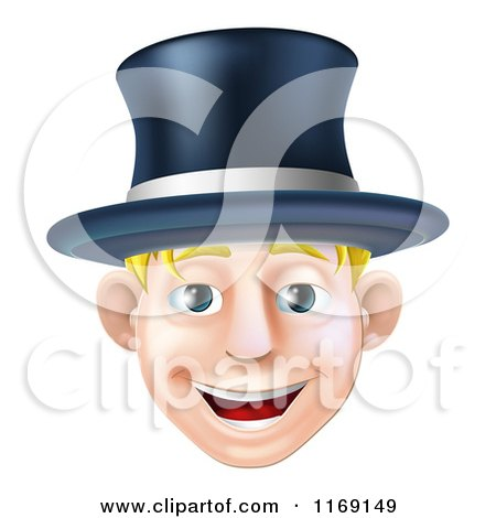 Cartoon of a Happy Blond Man Wearing a Top Hat and Smiling - Royalty Free Vector Clipart by AtStockIllustration