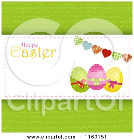 Clipart of a Happy Easter Greeting with Eggs a Heart Bunting and Copyspace on Green - Royalty Free Vector Illustration by elaineitalia