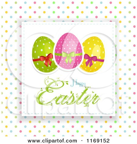 Clipart of a Happy Easter Greeting with Eggs over Polka Dots - Royalty Free Vector Illustration by elaineitalia