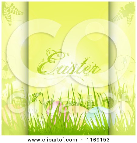Clipart of Easter Text over Eggs in Grass on Green - Royalty Free Vector Illustration by elaineitalia