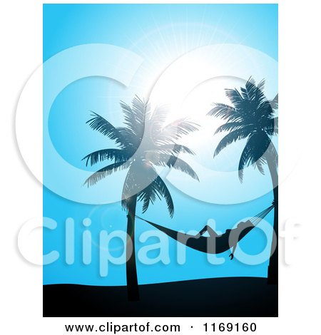 Clipart of a Sun Shining down on a Woman in a Hammock Between Palm Trees over Blue - Royalty Free Vector Illustration by elaineitalia