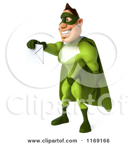 Clipart of a 3d Super Hero Man in a Green Costume, Holding out an Envelope 2 - Royalty Free CGI Illustration by Julos