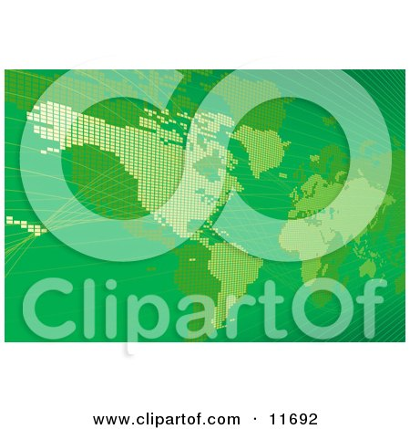 Green Map of the Americas and Europe Clipart Illustration by AtStockIllustration