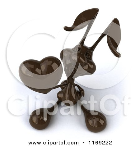 Clipart of a 3d Dark Chocolate Easter Bunny Holding a Heart - Royalty Free CGI Illustration by Julos