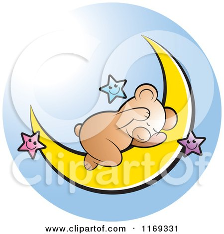 Cartoon of a Cute Bear Sleeping on a Crescent Moon with Stars, over Blue - Royalty Free Vector Clipart by Lal Perera