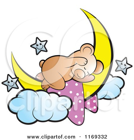Cartoon of a Cute Sleeping Bear on a Crescent Moon with Stars - Royalty Free Vector Clipart by Lal Perera
