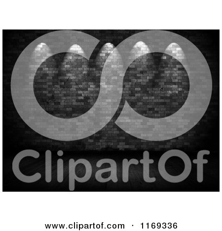 Clipart of Spotlights Shining on a 3d Black and White Brick Wall over Wood Floors - Royalty Free CGI Illustration by KJ Pargeter