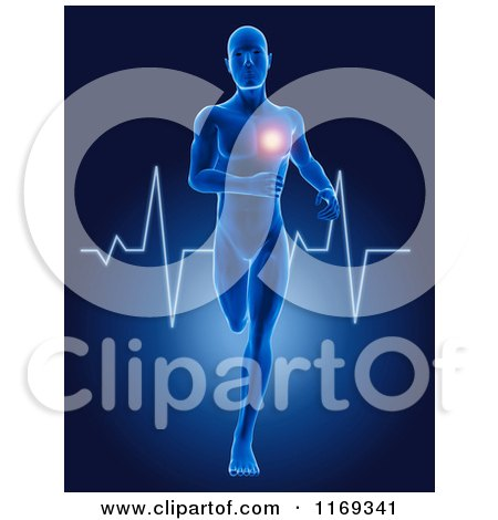Clipart of a 3d Blue Man Running with a Glowing Heart and ECG Heartbeat - Royalty Free CGI Illustration by KJ Pargeter