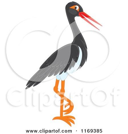 Cartoon of a Standing Black Stork Bird - Royalty Free Vector Clipart by Alex Bannykh
