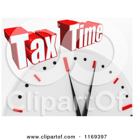 Clipart of a 3d Wall Clock with Tax Time Text, on White - Royalty Free CGI Illustration by MacX