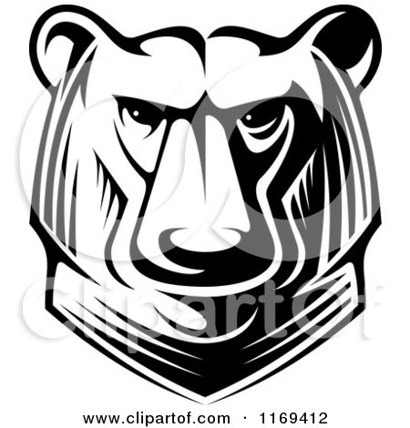 Clipart of a Black and White Kodiak Bear Head - Royalty Free Vector Illustration by Vector Tradition SM