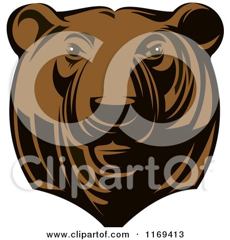 Clipart of a Brown Grizzly Bear Head - Royalty Free Vector Illustration by Vector Tradition SM