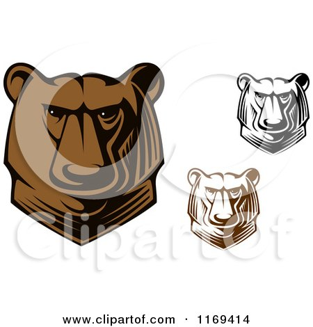 Clipart of Brown and Black and White Kodiak Bear Heads - Royalty Free Vector Illustration by Vector Tradition SM