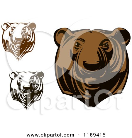 Clipart of Black and White and Brown Grizzly Bear Heads - Royalty Free Vector Illustration by Vector Tradition SM