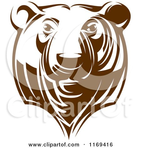 Clipart of a Brown Grizzly Bear Head 2 - Royalty Free Vector Illustration by Vector Tradition SM