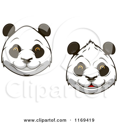 Clipart of Happy Giant Panda Faces - Royalty Free Vector Illustration by Vector Tradition SM