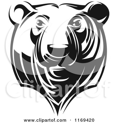 Clipart of a Black and White Grizzly Bear Head - Royalty Free Vector Illustration by Vector Tradition SM