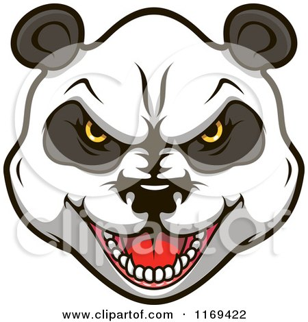 Clipart of an Aggressive Giant Panda Face - Royalty Free Vector Illustration by Vector Tradition SM