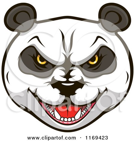 Clipart of an Aggressive Giant Panda Face 2 - Royalty Free Vector Illustration by Vector Tradition SM