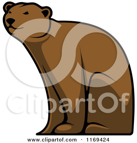 Clipart of a Happy Brown Bear Sitting - Royalty Free Vector Illustration by Vector Tradition SM