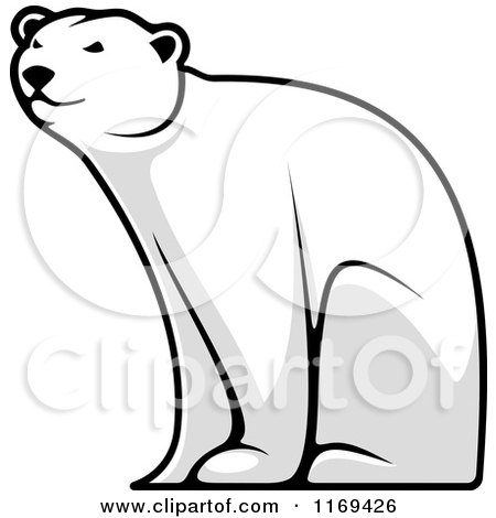 Clipart of a Happy Grayscale Polar Bear Bear Sitting - Royalty Free Vector Illustration by Vector Tradition SM