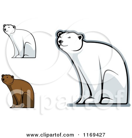 Clipart of Happy Bears Sitting - Royalty Free Vector Illustration by Vector Tradition SM